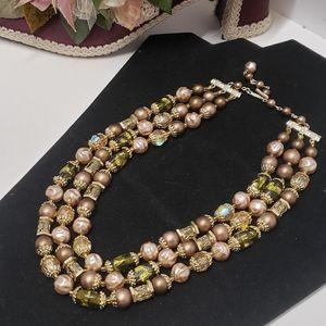 Unique Vintage Multi Beaded Statement Necklace